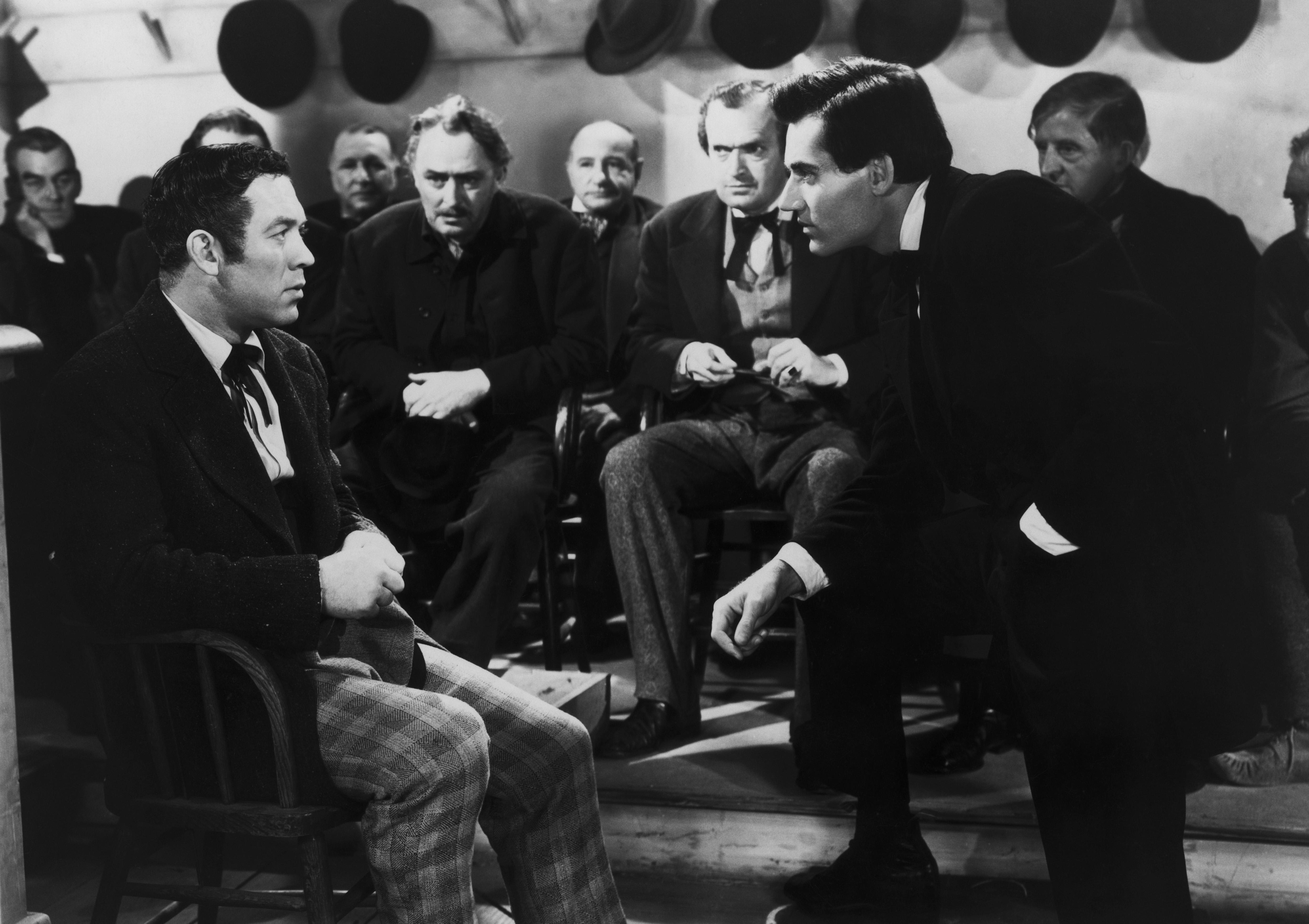 Henry Fonda, Ward Bond, Francis Ford, Jim Mason, and Ivor McFadden in Young Mr. Lincoln (1939)