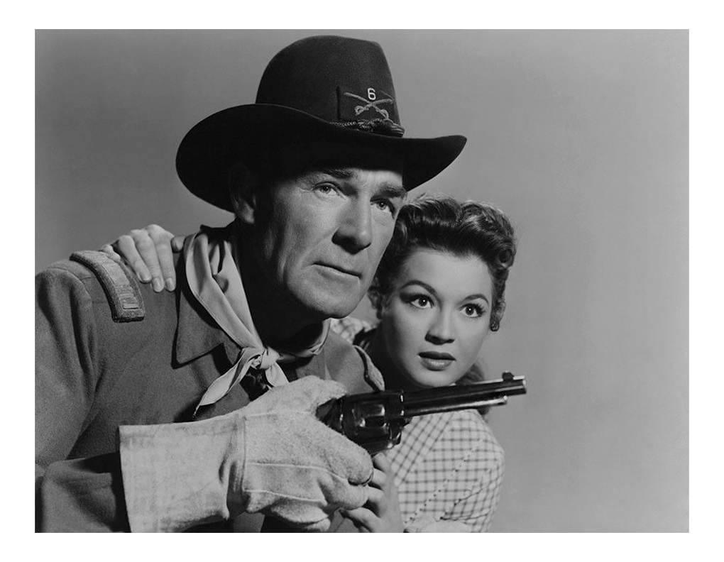 Randolph Scott and Angie Dickinson in Shoot-Out at Medicine Bend (1957)
