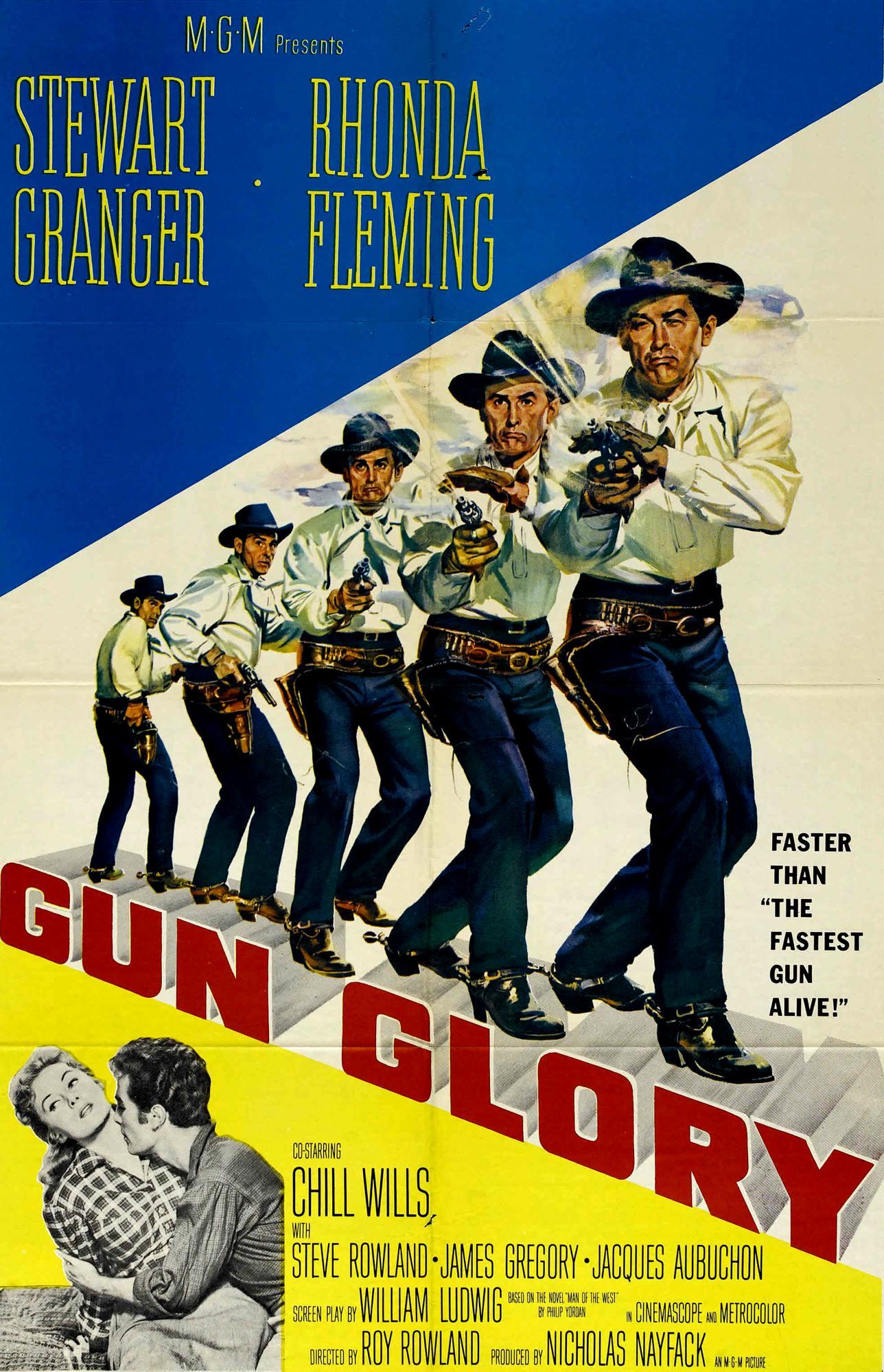 Stewart Granger, Rhonda Fleming, and Steve Rowland in Gun Glory (1957)