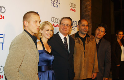 Tommy Lee Jones, Barry Pepper, January Jones, Guillermo Arriaga, and Julio Cesar Cedillo at an event for The Three Burials of Melquiades Estrada (2005)