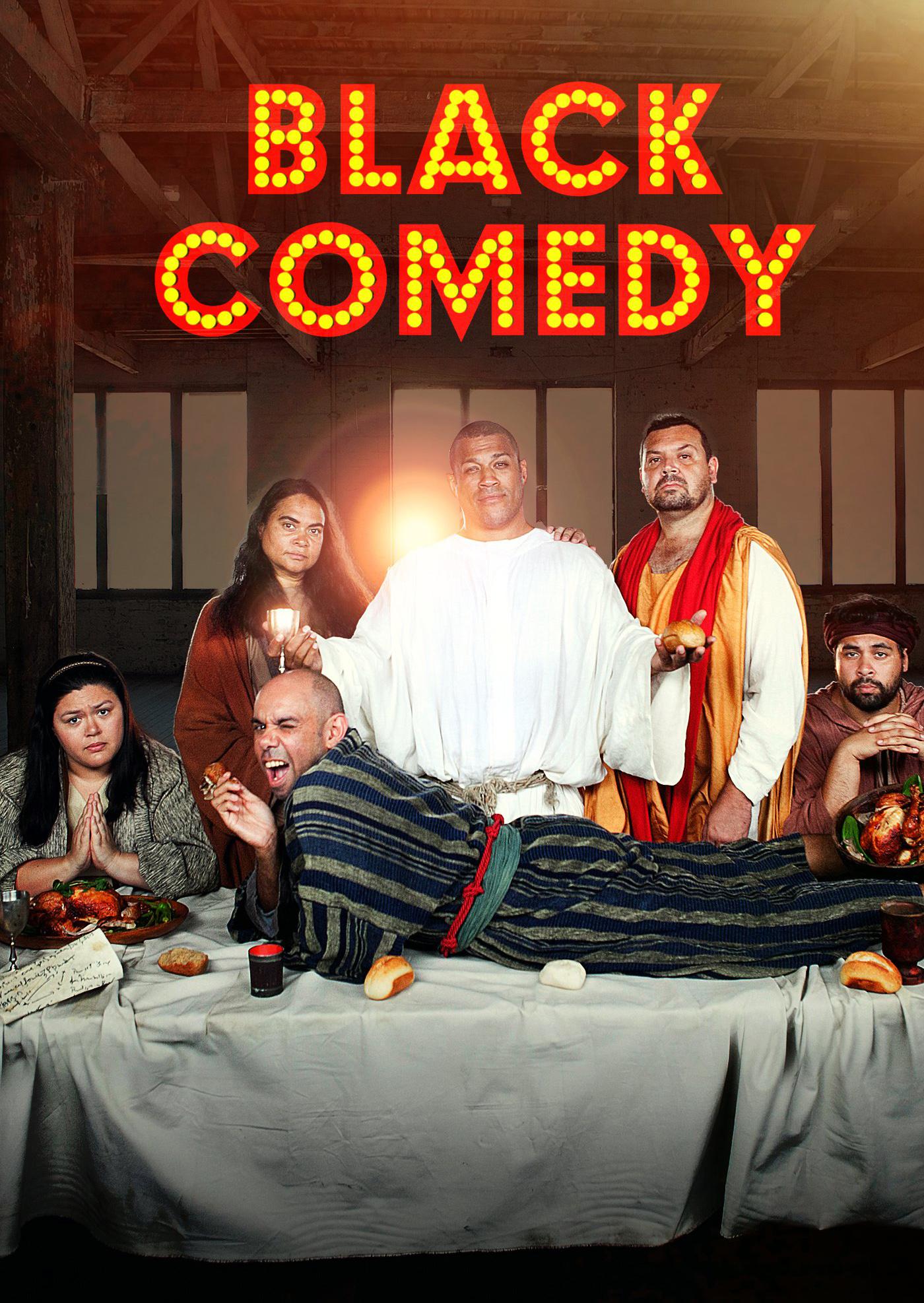 Aaron Fa'aoso, Jon Bell, Elizabeth Wymarra, Bjorn Stewart, Nakkiah Lui, and Steven Oliver in Black Comedy (2014)