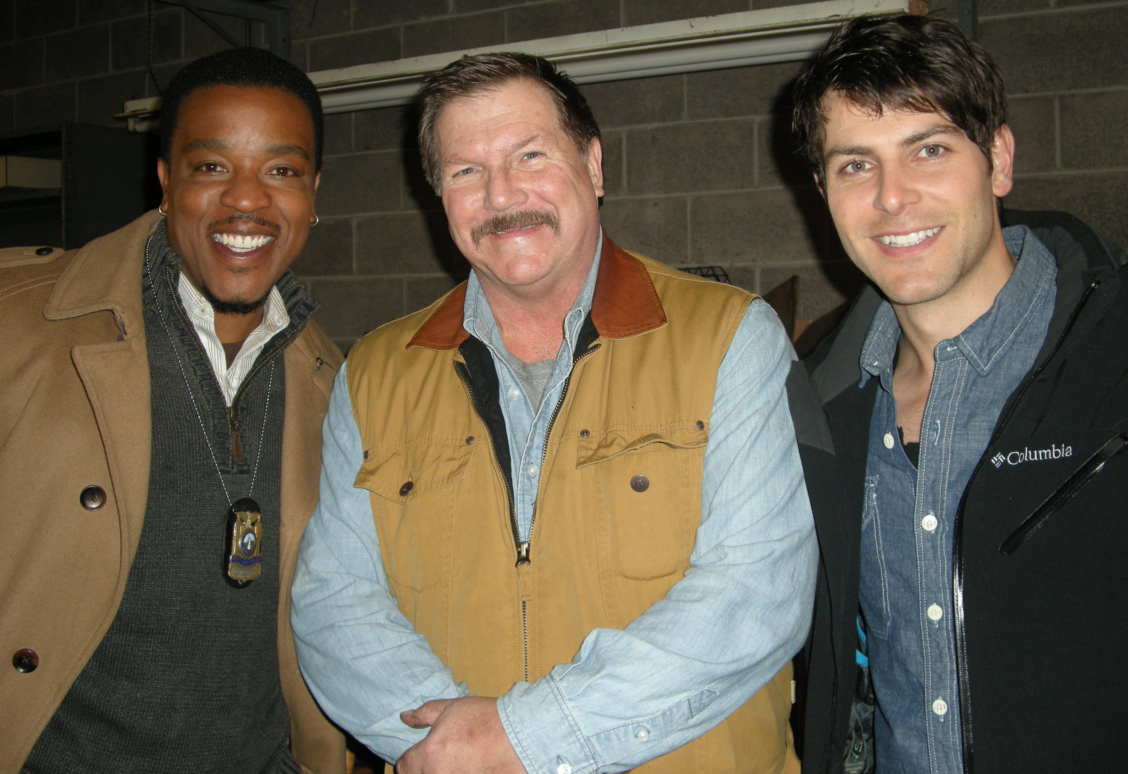 Daniel Knight (center) on the set of NBC's GRIMM with Russell Hornsby (left) and David Giuntoli (right)