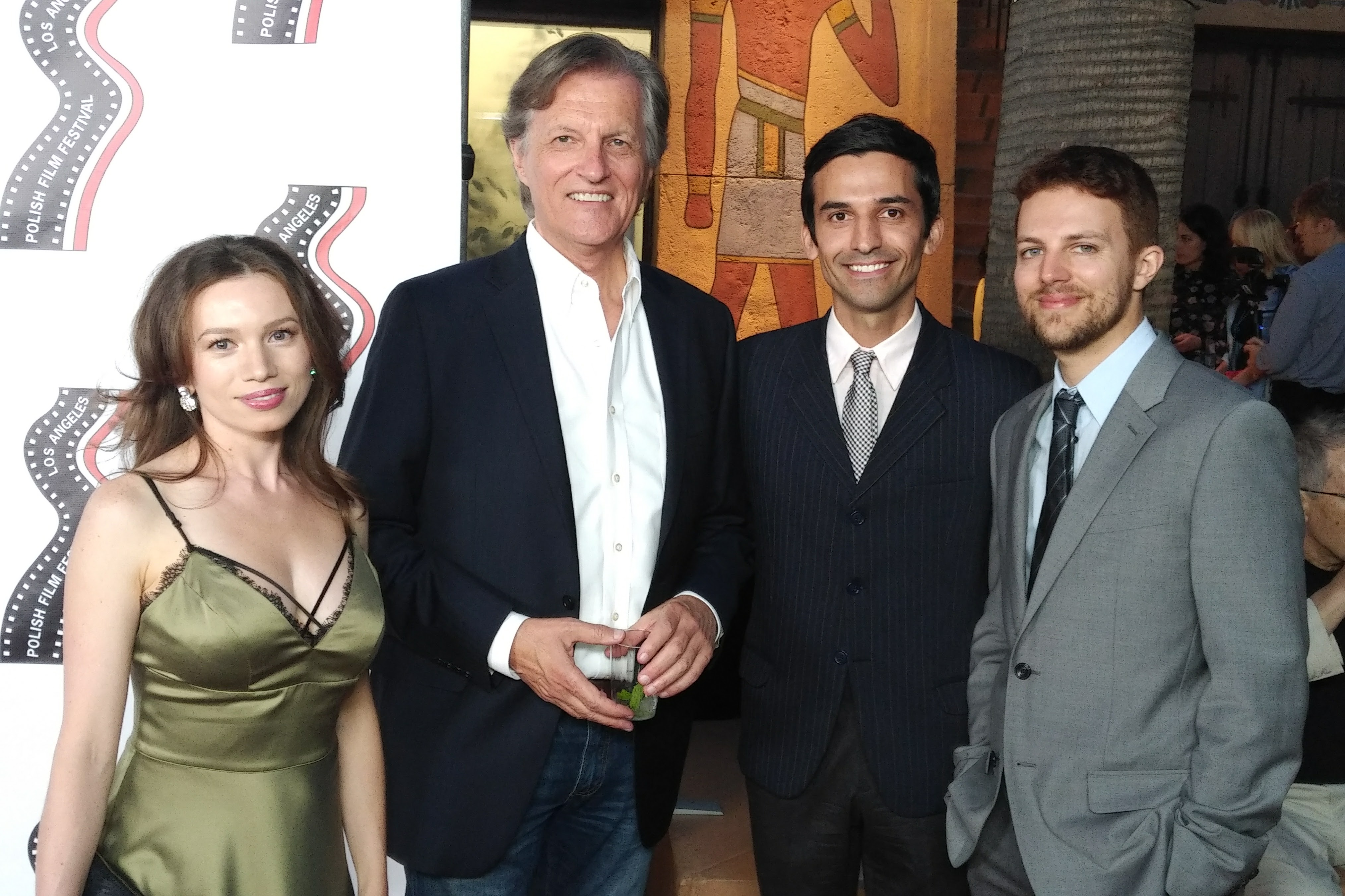On the red carpet with QUEEN OF SPADES writer-director Aygul Maksutova, producer Marcelo Bendotti and Damien Nougadere. Opening night gala of the 18th Annual Polish Film Festival at the Egyptian Theater in Hollywood, CA.
