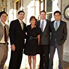 """Writer/Exec. Producer Stacey Hayashi, with her leading men: (l-r) Michael Ng, Chris Tashima, David James Sikkink, Peter Shinkoda, filming """"Go For Broke: An Origin Story"""" - on location at Iolani Palace, Dec. 14, 2016"""