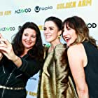 Jenna Milly, Mary Holland and Ann Marie Allison at the premiere of Golden Arm at the Palm Sophia in Culver City on April 30, 2021.