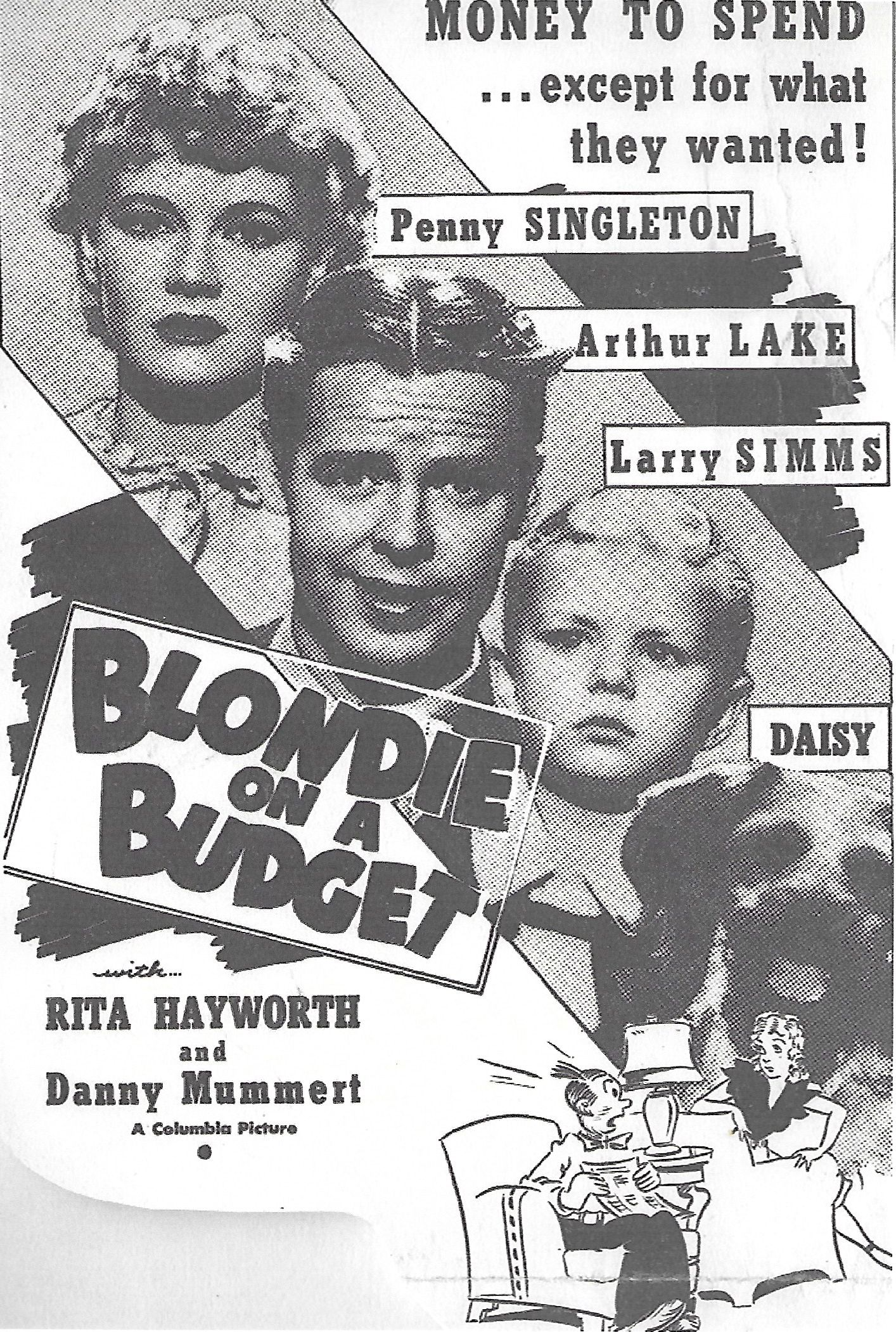Arthur Lake, Larry Simms, Penny Singleton, and Daisy in Blondie on a Budget (1940)