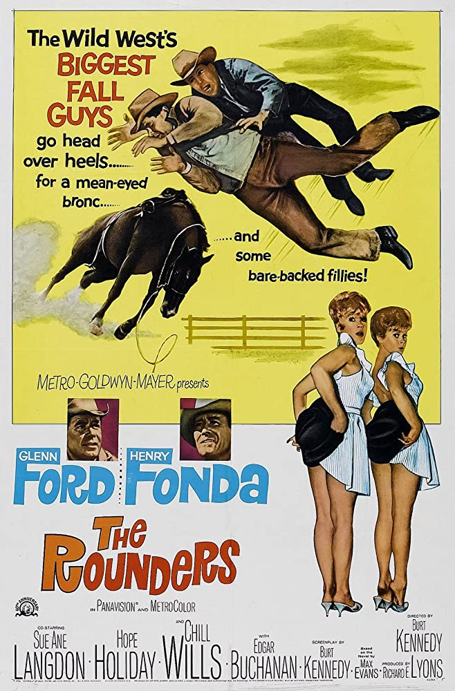 Henry Fonda, Glenn Ford, Hope Holiday, and Sue Ane Langdon in The Rounders (1965)