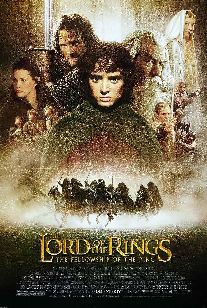 Liv Tyler, Sean Astin, Sean Bean, Elijah Wood, Cate Blanchett, Viggo Mortensen, Ian McKellen, Orlando Bloom, Billy Boyd, Dominic Monaghan, and John Rhys-Davies in The Lord of the Rings: The Fellowship of the Ring (2001)