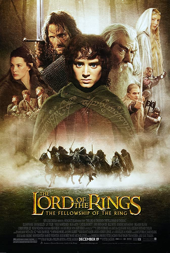 Liv Tyler, Sean Astin, Sean Bean, Elijah Wood, Cate Blanchett, Viggo Mortensen, Ian McKellen, Orlando Bloom, Billy Boyd, Dominic Monaghan, and John Rhys-Davies in The Lord of the Rings: The Fellowship of the Ring (2001)