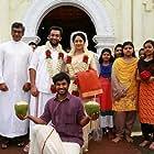 Maniyanpilla Raju, Prithviraj Sukumaran, Sudheer Karamana, Mia George, and Sharafudheen in Paavada (2016)