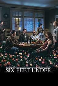 Lauren Ambrose, Freddy Rodríguez, Frances Conroy, Rachel Griffiths, Michael C. Hall, Peter Krause, and Mathew St. Patrick in Six Feet Under (2001)