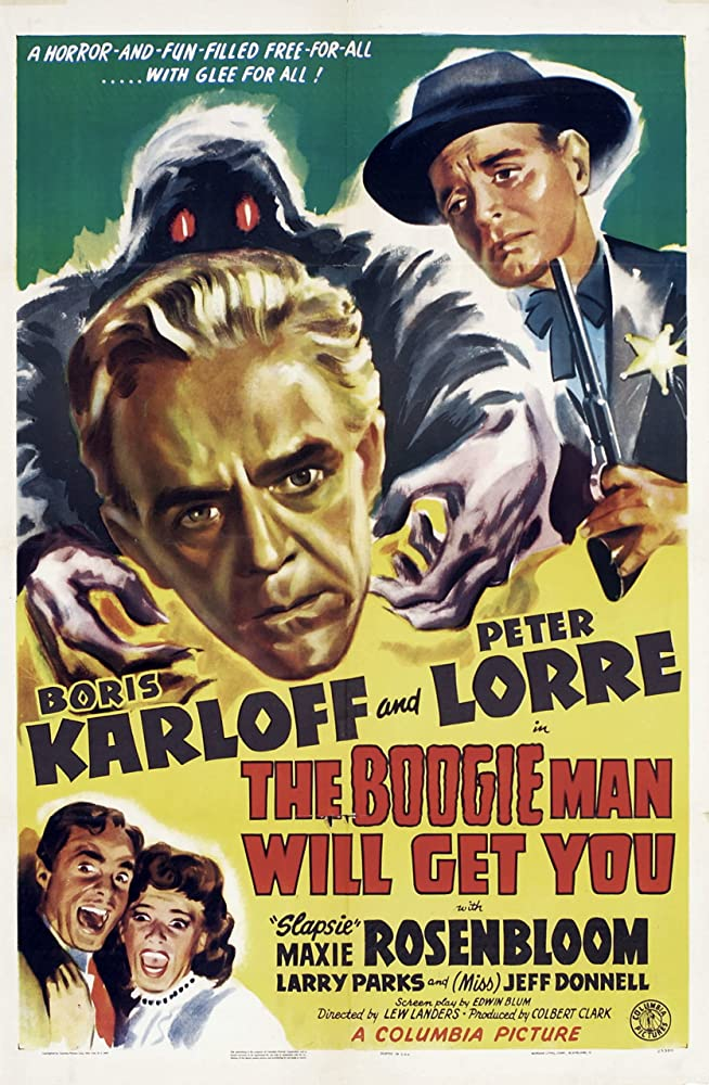 Peter Lorre, Boris Karloff, Jeff Donnell, and Larry Parks in The Boogie Man Will Get You (1942)
