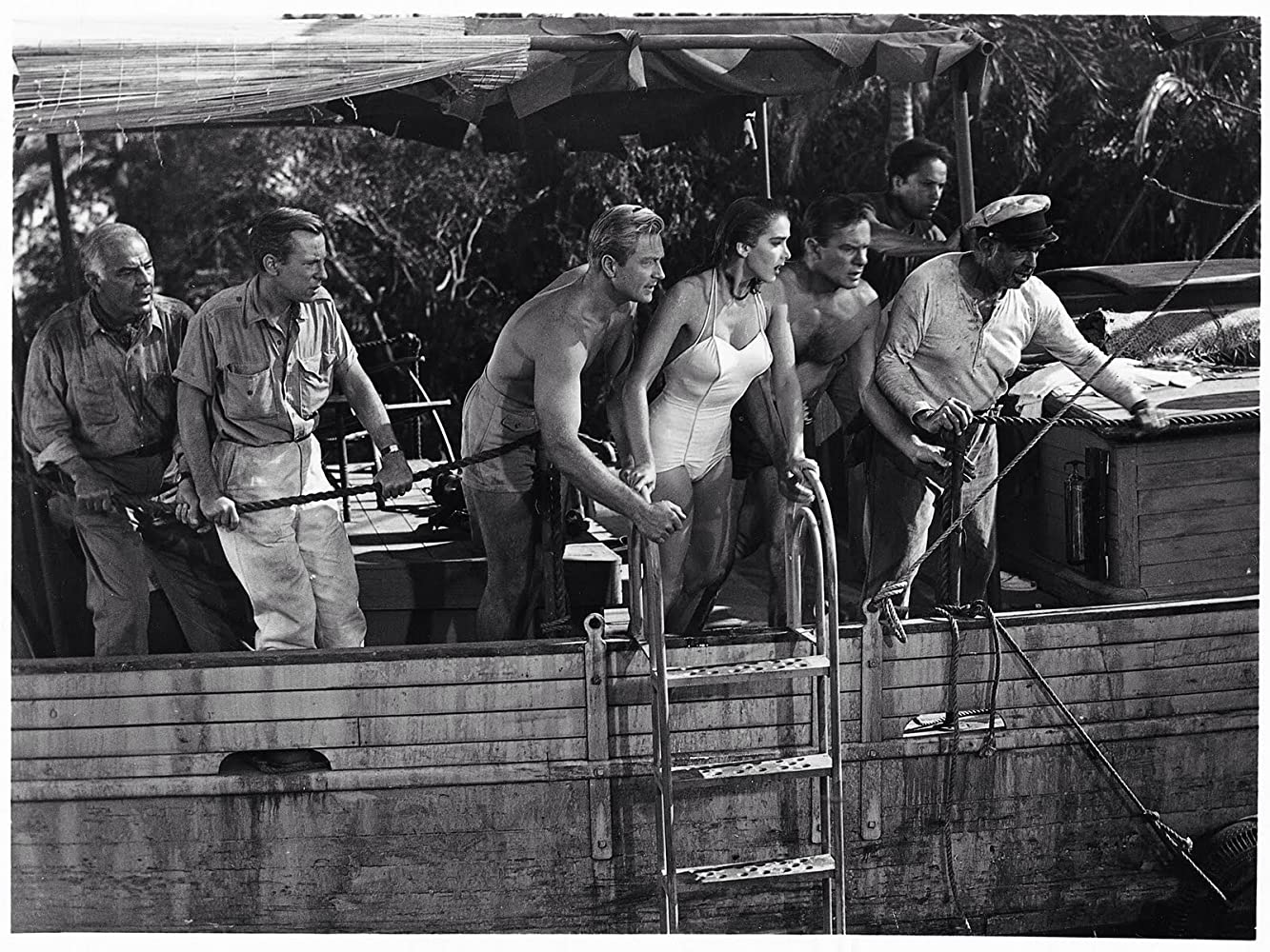 Julie Adams, Richard Carlson, Richard Denning, Antonio Moreno, and Nestor Paiva in Creature from the Black Lagoon (1954)