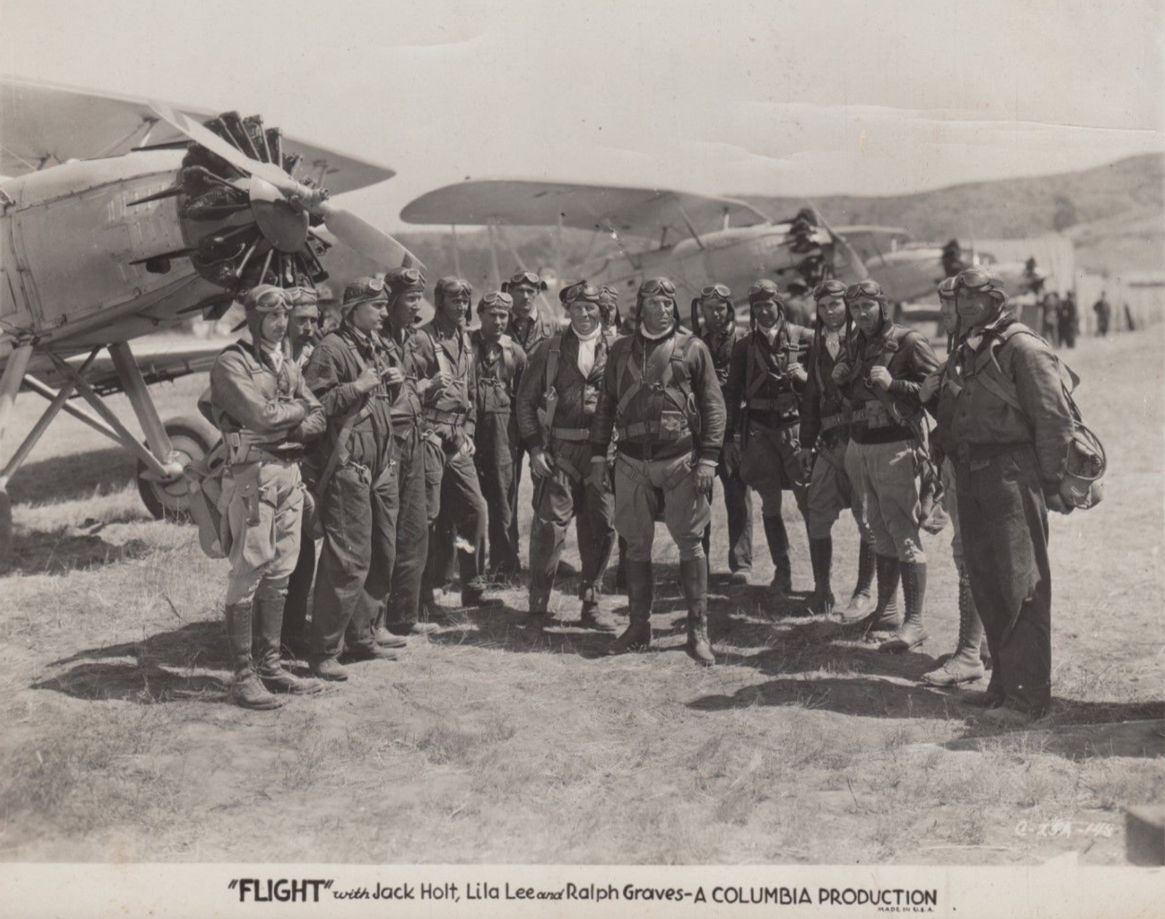Walter Brennan, Joe Bordeaux, Eddy Chandler, Harold Goodwin, Ralph Graves, Jack Holt, George Irving, and Alan Roscoe in Flight (1929)