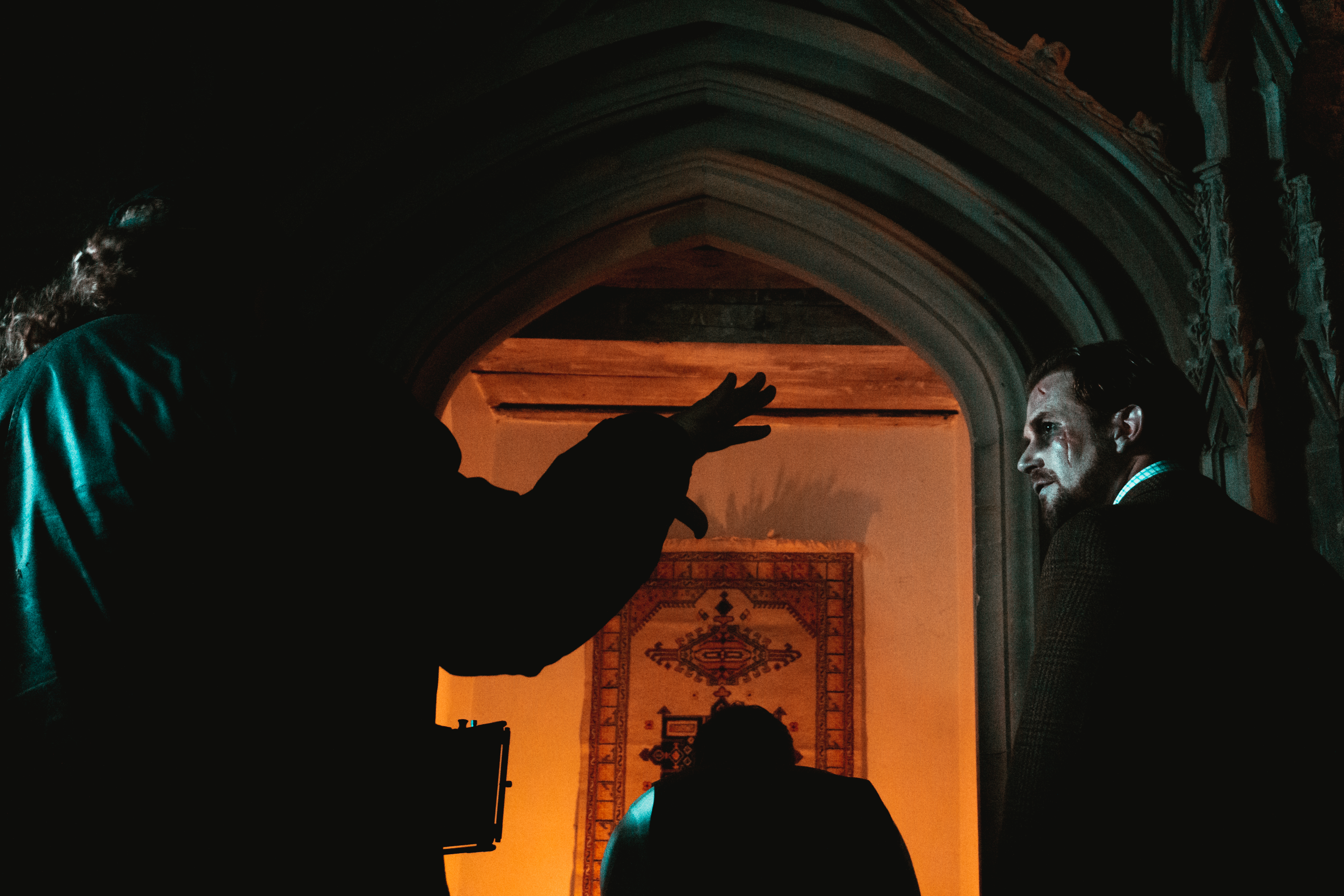 On the set of 'The Haunting of Margam Castle'.