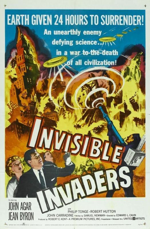 John Agar, John Carradine, Jean Byron, Robert Hutton, and Philip Tonge in Invisible Invaders (1959)
