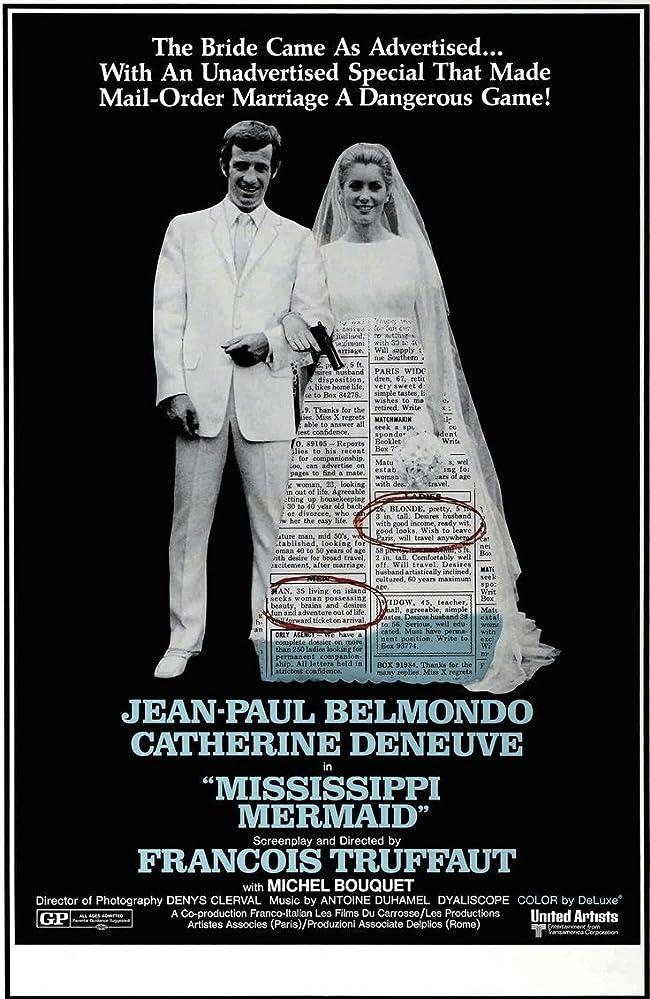 Catherine Deneuve and Jean-Paul Belmondo in La sirène du Mississipi (1969)