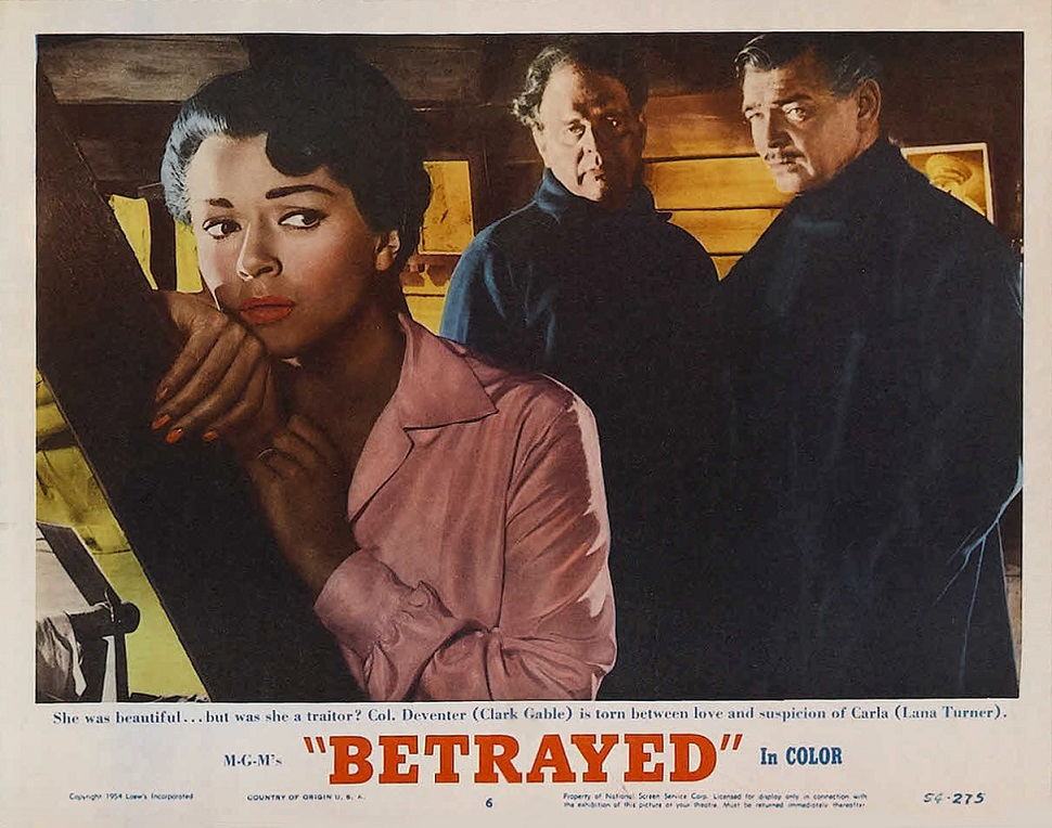 Clark Gable, Victor Mature, and Lana Turner in Betrayed (1954)