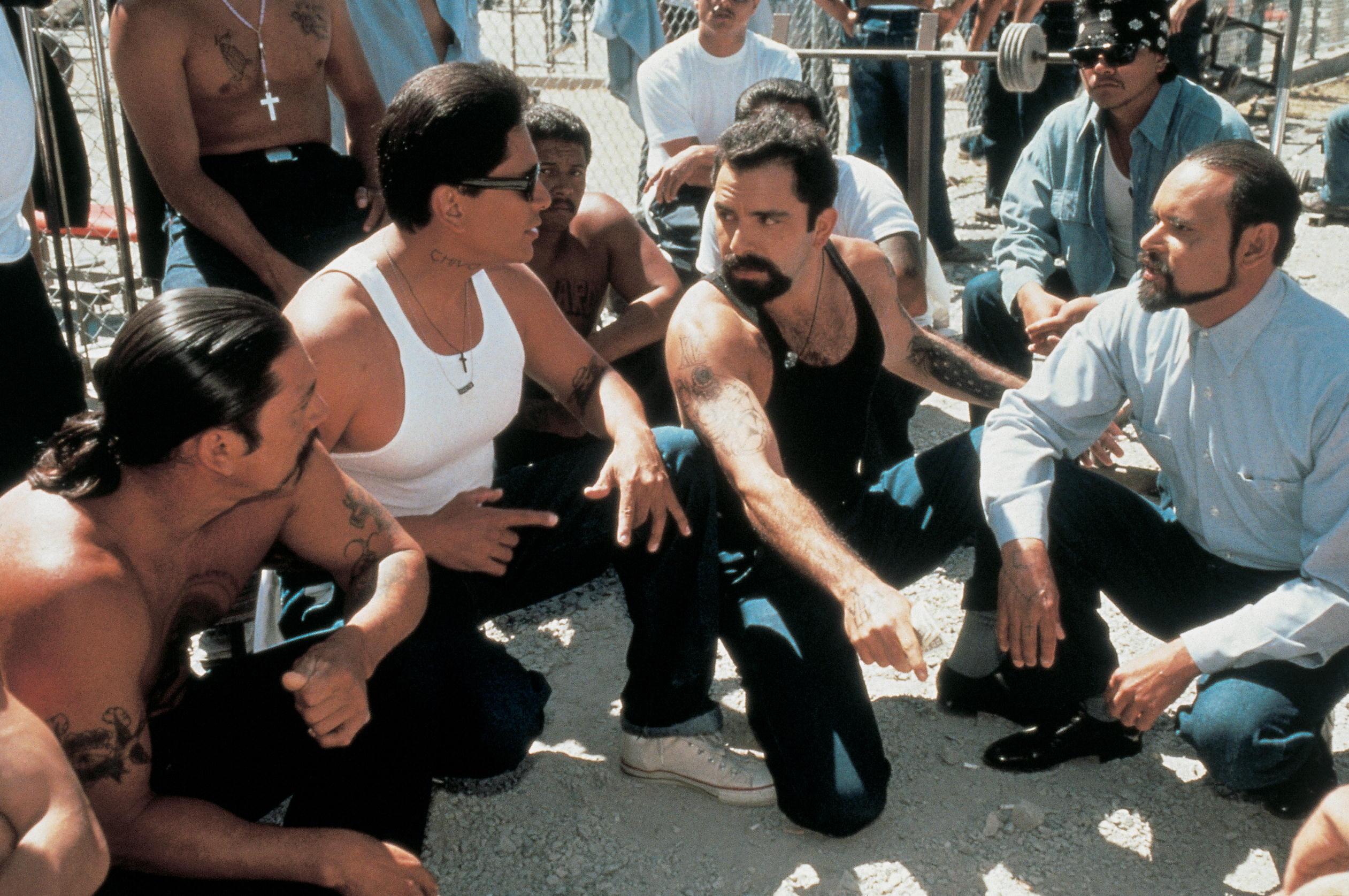 Danny Trejo, Enrique Castillo, and Geoffrey Rivas in Bound by Honor (1993)
