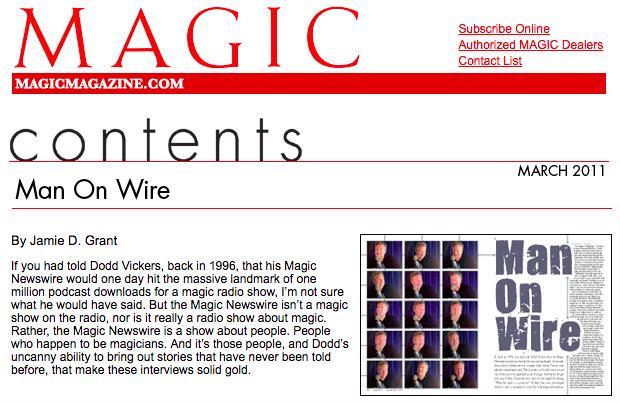 Article on Dodd & his Magic Podcast in Magic Magazine.