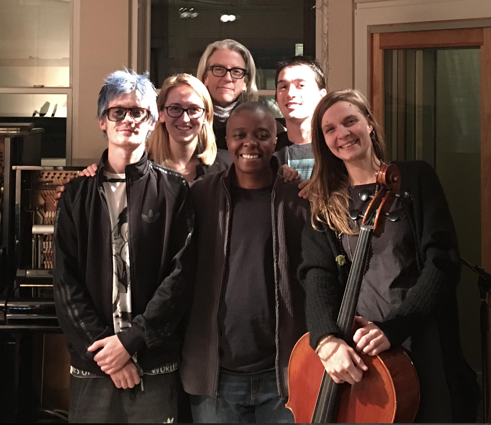 Craig Sutherland, Sarah D'hanens, Joslyn Barnes, Yance Ford, Daniel Timmons and Hildur Guðnadóttir in scoring session for Strong Island (2017)