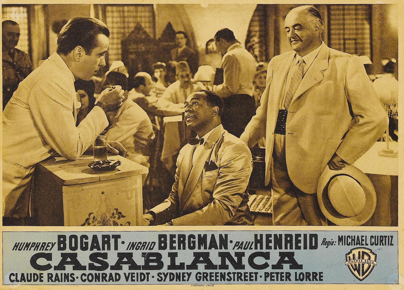 Humphrey Bogart, Sydney Greenstreet, and Dooley Wilson in Casablanca (1942)