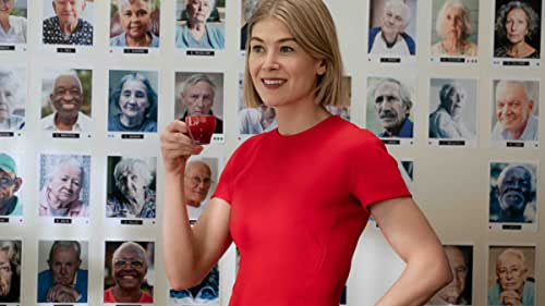 """Poised with sharklike self-assurance, Marla Grayson (Rosamund Pike) is a professional, court-appointed guardian for dozens of elderly wards whose assets she seizes and cunningly bilks through dubious but legal means. It's a well-oiled racket that Marla and her business-partner and lover Fran (Eiza González) use with brutal efficiency on their latest """"cherry,"""" Jennifer Peterson (Dianne Wiest) - a wealthy retiree with no living heirs or family. But when their mark turns out to have an equally shady secret of her own and connections to a volatile gangster (Peter Dinklage), Marla is forced to level up in a game only predators can play - one that's neither fair, nor square."""