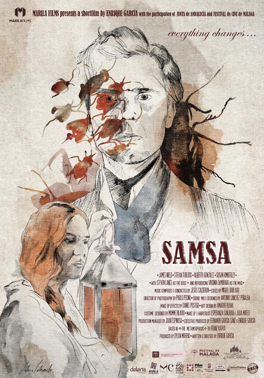 Franz Kafka, Enrique García, James Nield, Virginia de Morata, and Dylan Moreno in Samsa (2019)