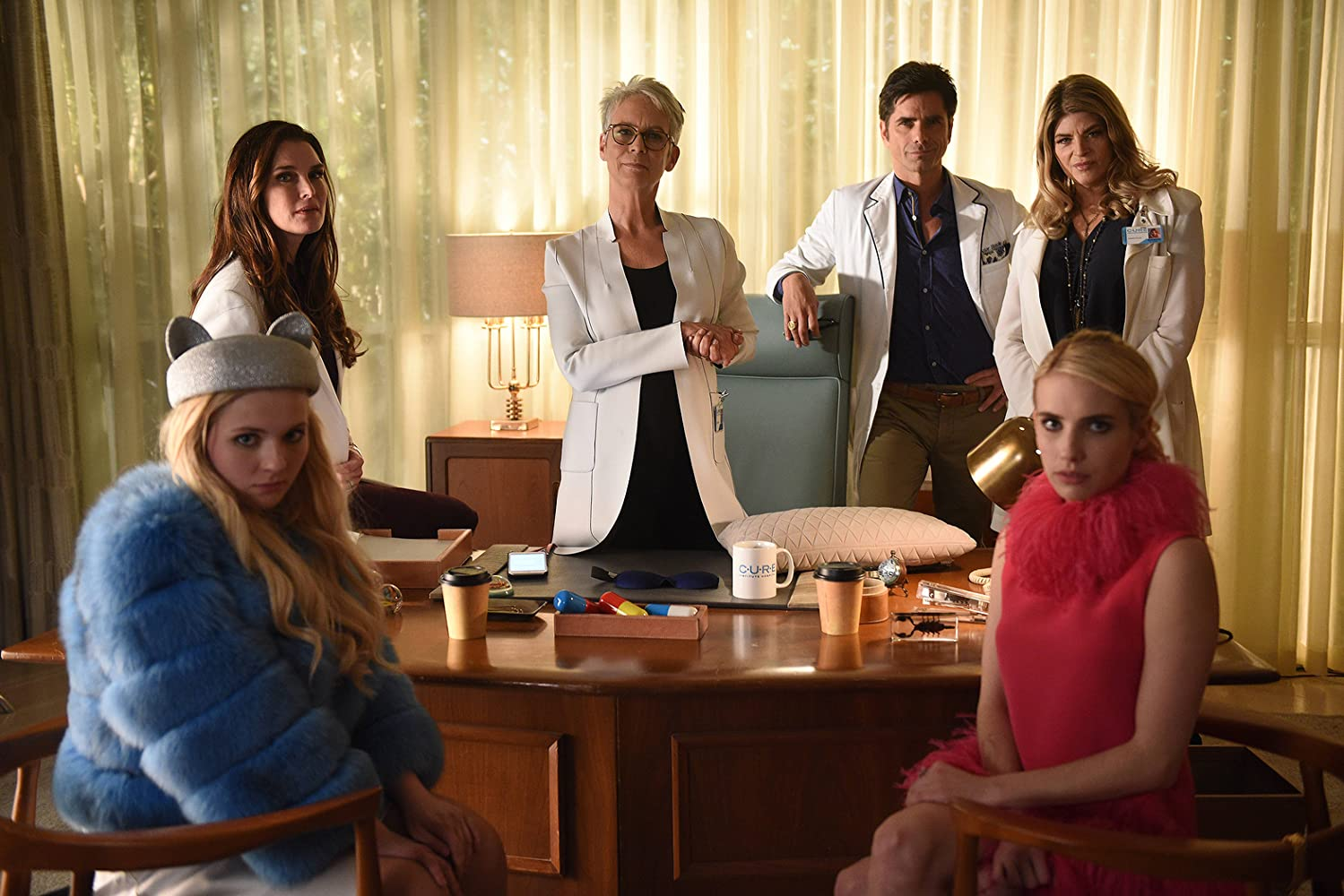 Jamie Lee Curtis, Brooke Shields, Kirstie Alley, John Stamos, Emma Roberts, and Abigail Breslin in Scream Queens (2015)