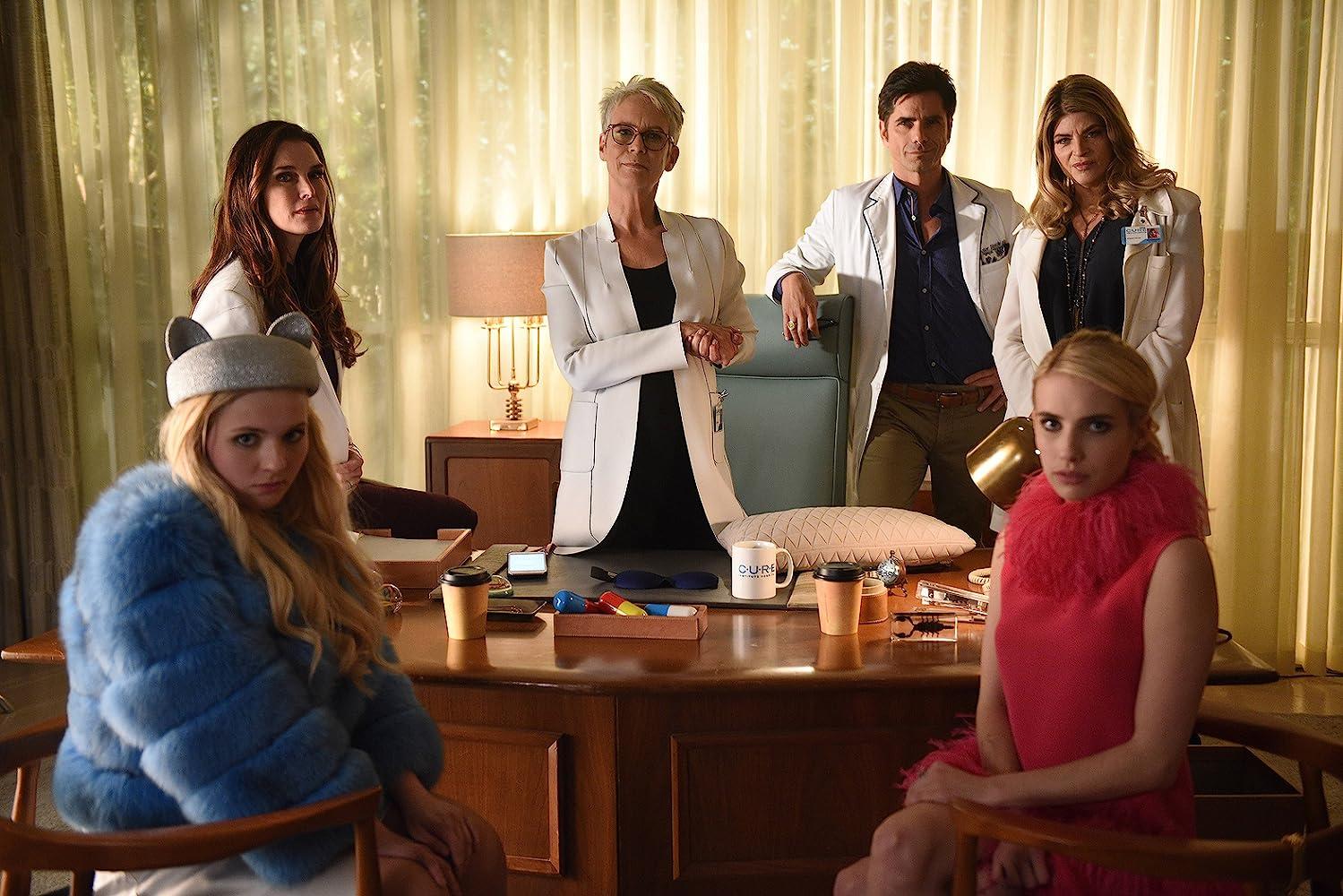 Jamie Lee Curtis, Brooke Shields, Kirstie Alley, John Stamos, Emma Roberts, and Abigail Breslin in Scream Queens (2015)