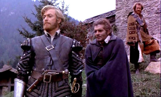 Michael Caine, Omar Sharif, and Ian Hogg in The Last Valley (1971)