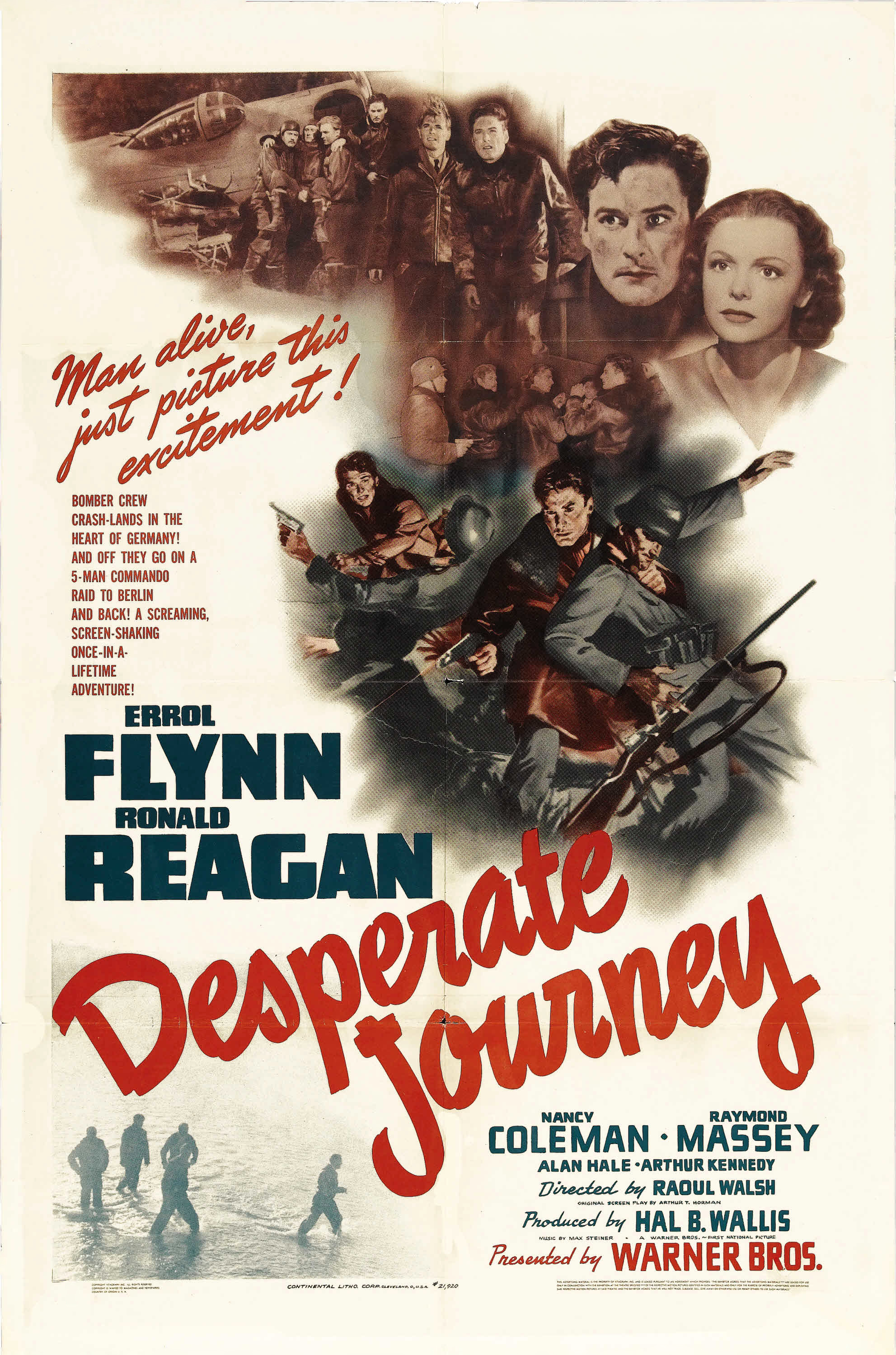 Errol Flynn, Ronald Reagan, and Nancy Coleman in Desperate Journey (1942)