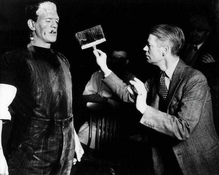 Boris Karloff and James Whale in Frankenstein (1931)