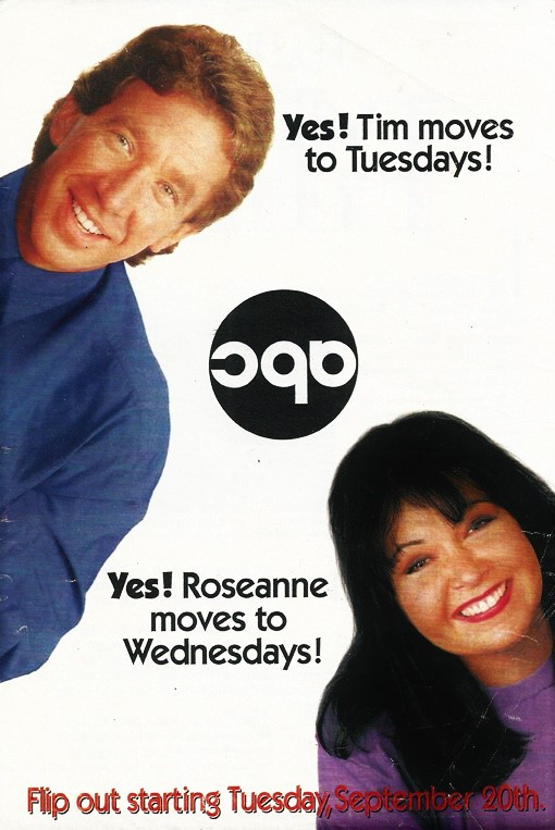 Tim Allen and Roseanne Barr in Roseanne (1988)