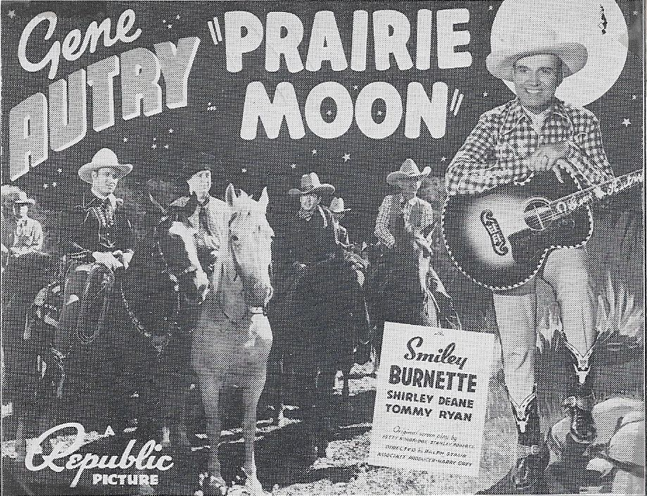 Gene Autry, Smiley Burnette, Jack Montgomery, and Champion in Prairie Moon (1938)