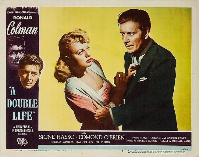 Shelley Winters and Ronald Colman in A Double Life (1947)