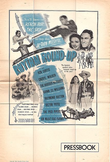 Ken Curtis, Raymond Hatton, Victor Potel, Cheryl Walker, and Guinn 'Big Boy' Williams in Rhythm Round-Up (1945)