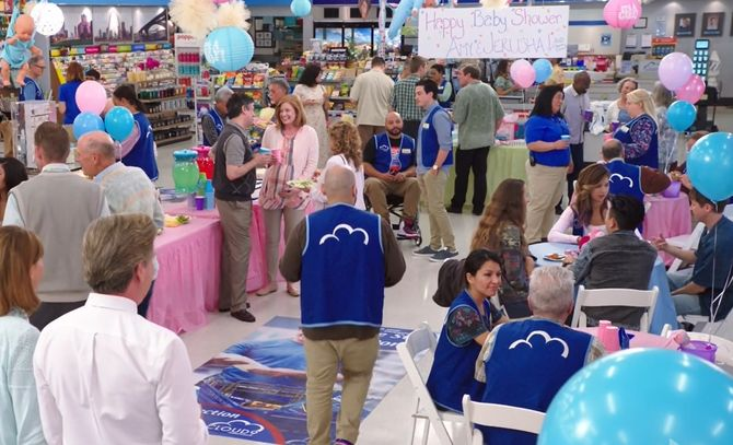 Kerri Kenney, Mark McKinney, Ben Feldman, Colton Dunn, Kelly Schumann, Kaliko Kauahi, and Nichole Bloom in Superstore (2015)