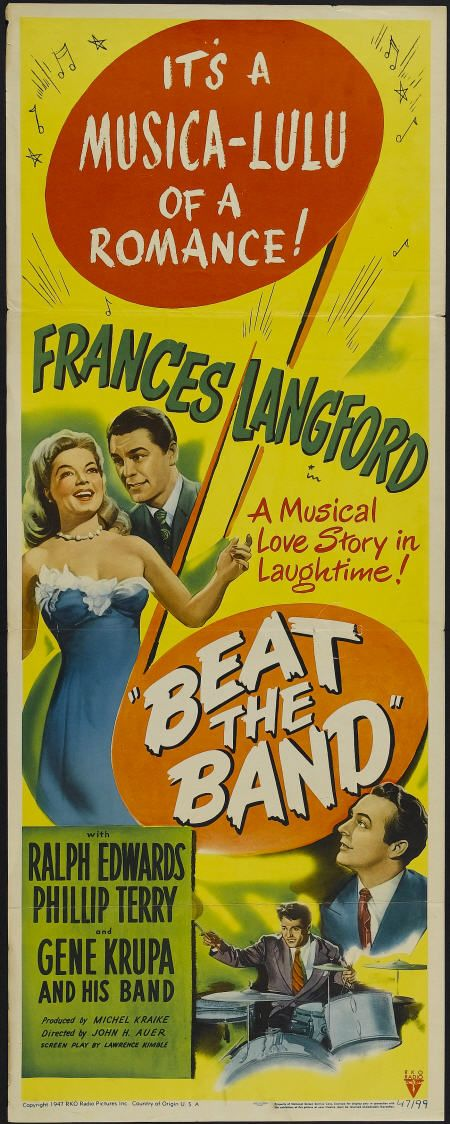 Ralph Edwards, Gene Krupa, Frances Langford, and Phillip Terry in Beat the Band (1947)
