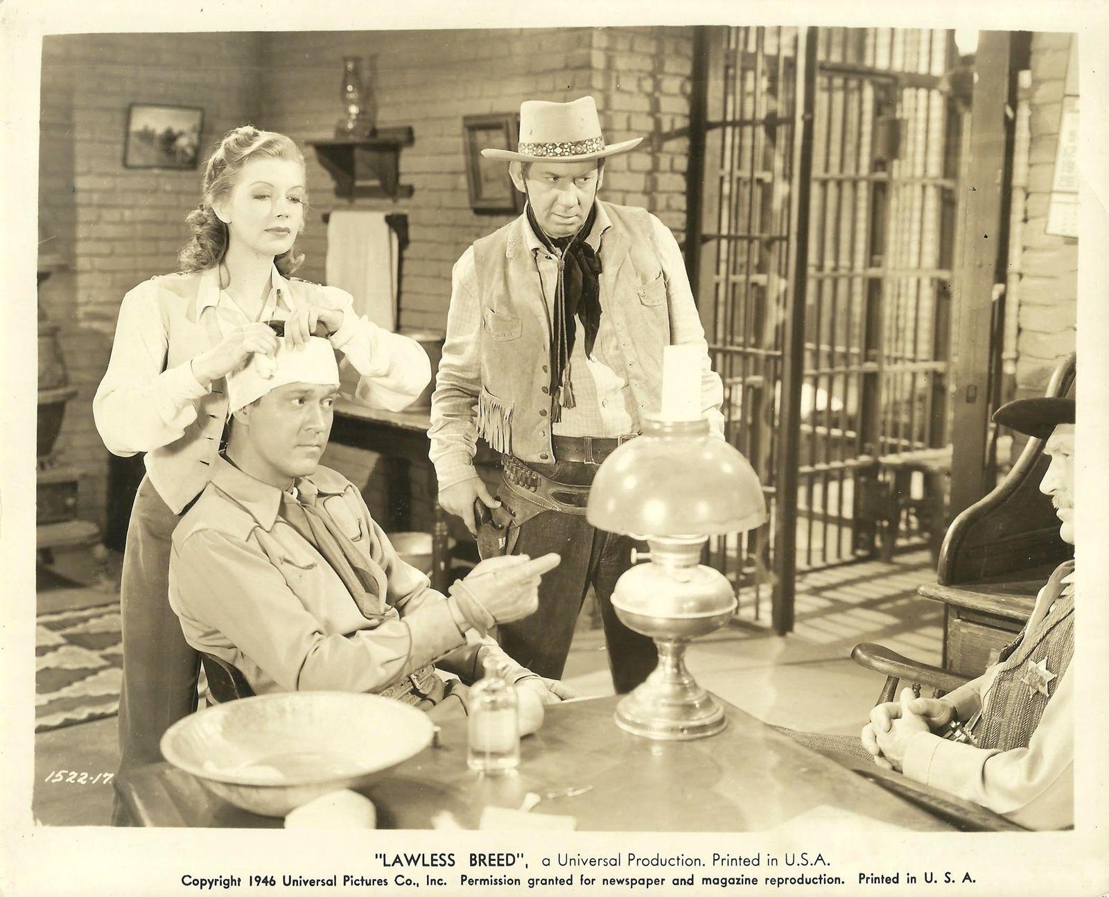 Jane Adams, Kirby Grant, Karl Hackett, and Fuzzy Knight in Lawless Breed (1946)