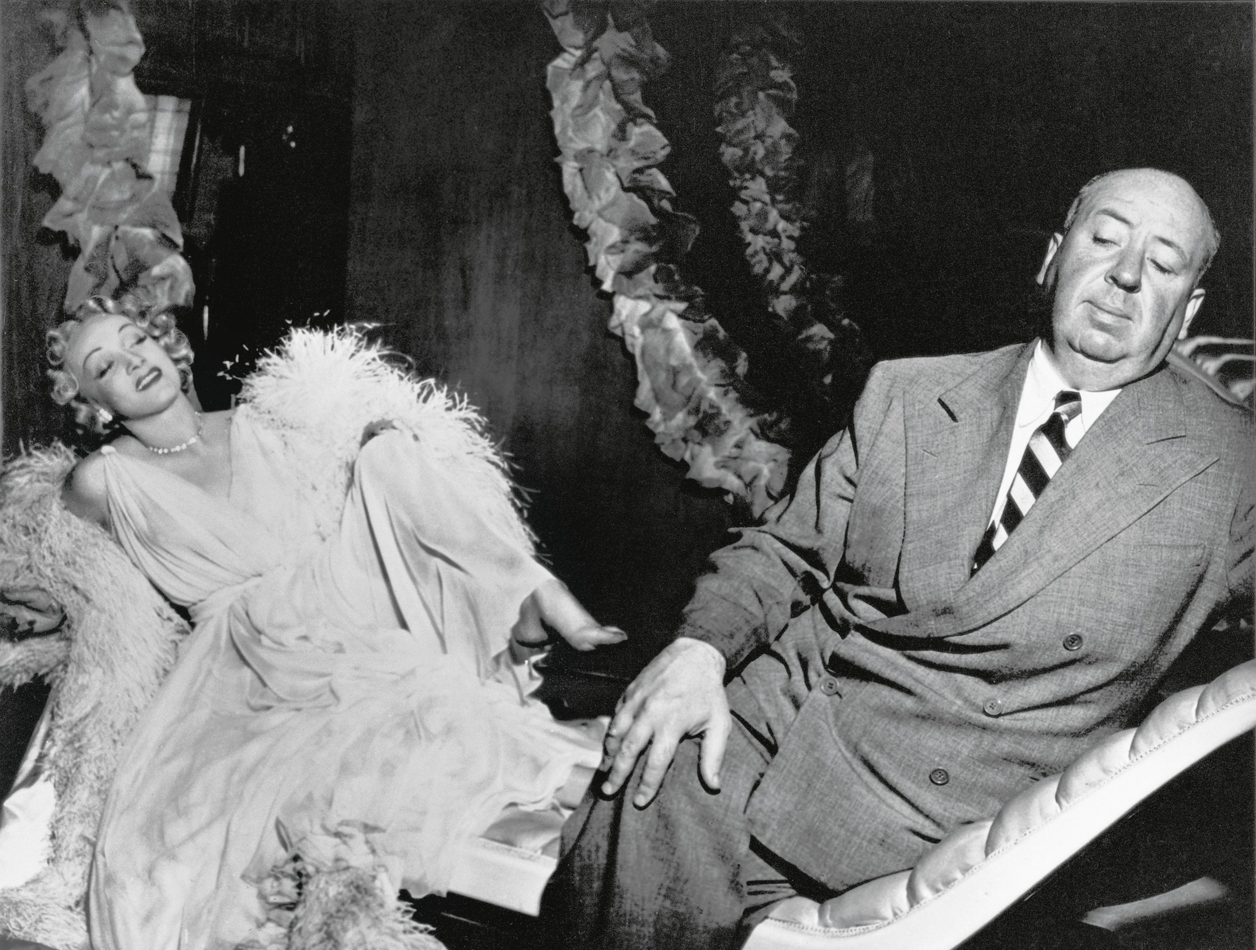 Marlene Dietrich and Alfred Hitchcock in Stage Fright (1950)