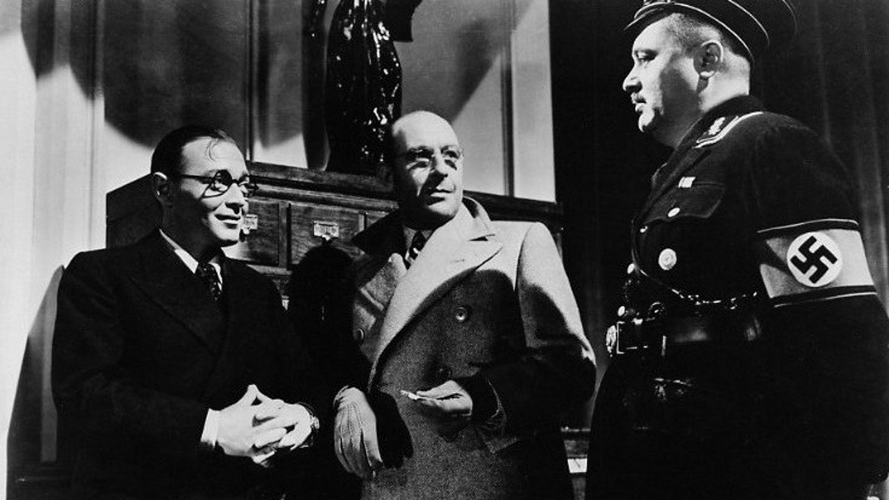 Peter Lorre, J. Edward Bromberg, and Cedric Hardwicke in Invisible Agent (1942)
