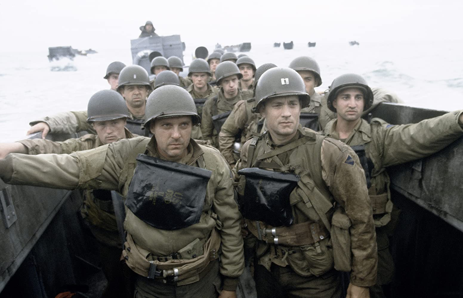 Tom Hanks and Tom Sizemore in Saving Private Ryan (1998)
