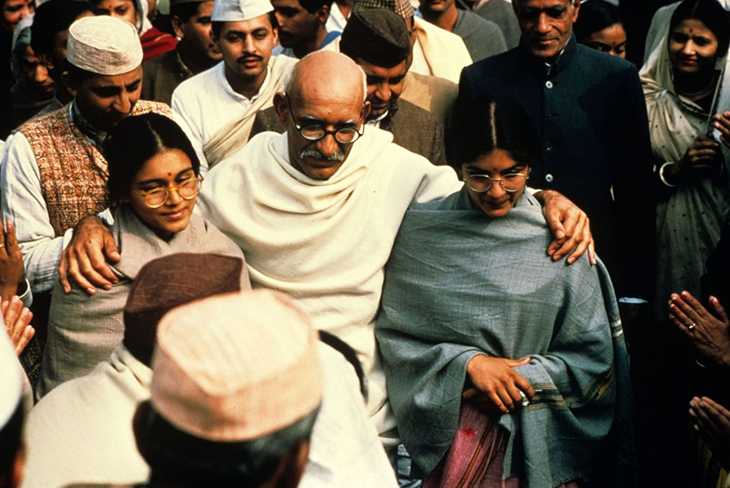 Ben Kingsley, Neena Gupta, and Supriya Pathak in Gandhi (1982)