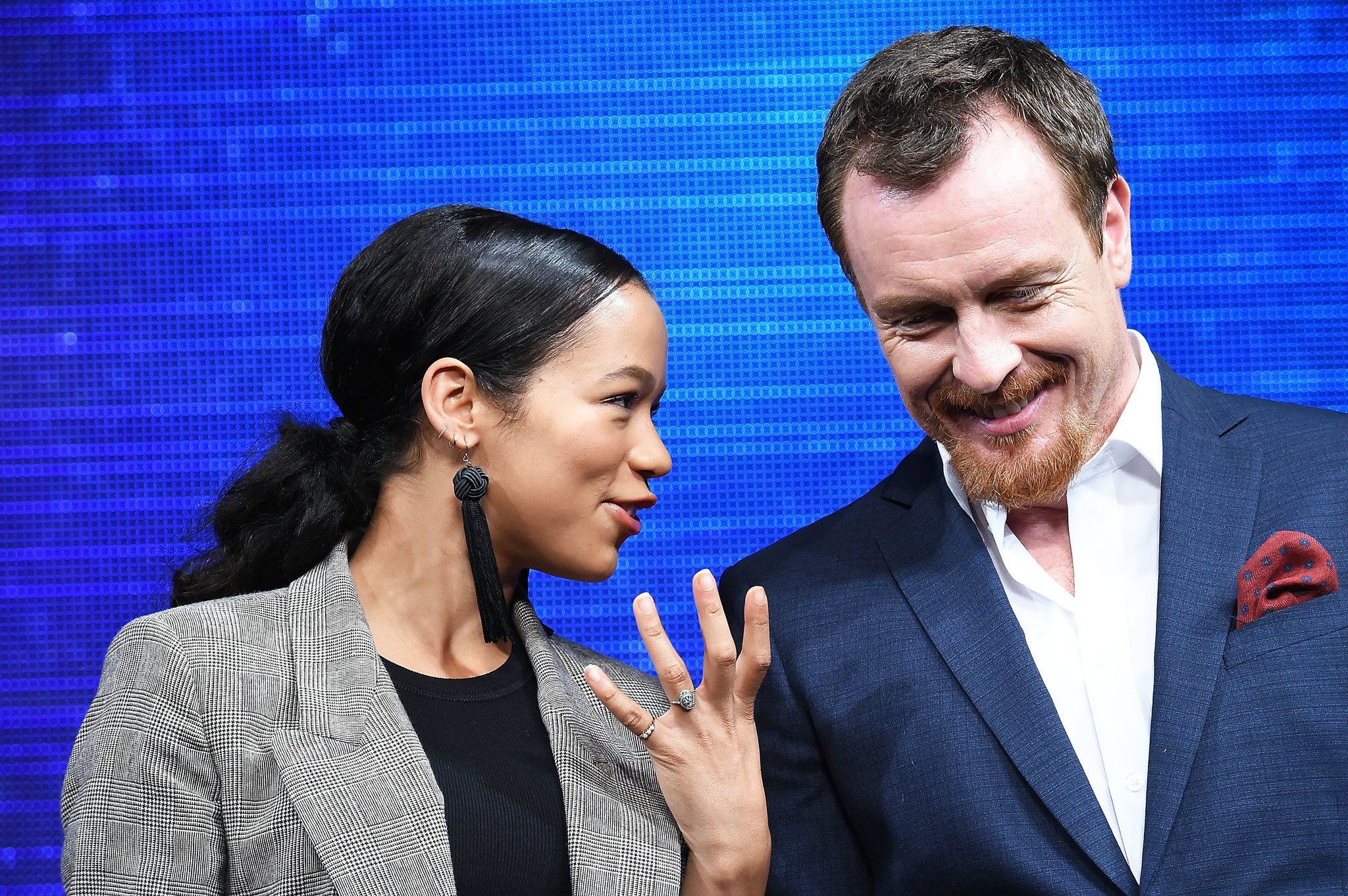 Toby Stephens and Taylor Russell at an event for Lost in Space (2018)