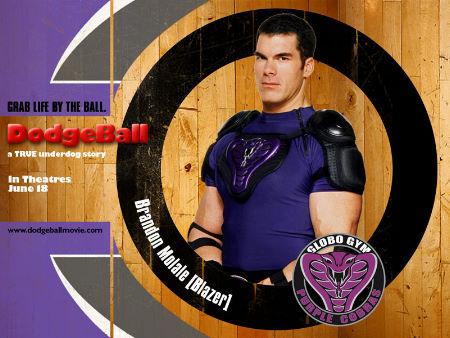 "Brandon Molale (Blazer) teams with Ben Stiller in ""Dodgeball: A True Underdog Story""."