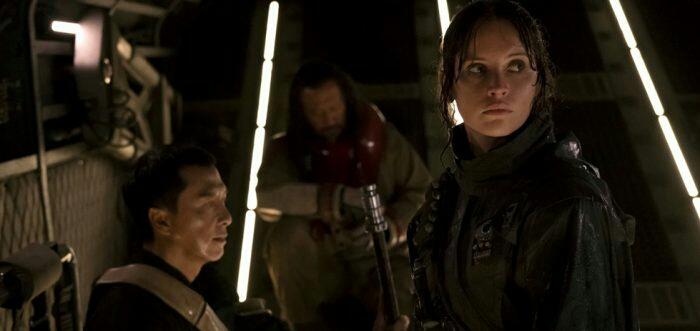 Wen Jiang, Felicity Jones, and Donnie Yen in Rogue One (2016)