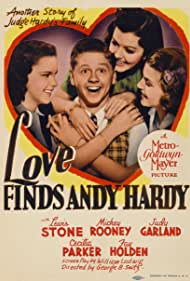 Judy Garland, Mickey Rooney, Lana Turner, and Ann Rutherford in Love Finds Andy Hardy (1938)