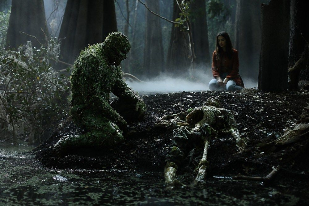 Derek Mears and Crystal Reed in Swamp Thing (2019)