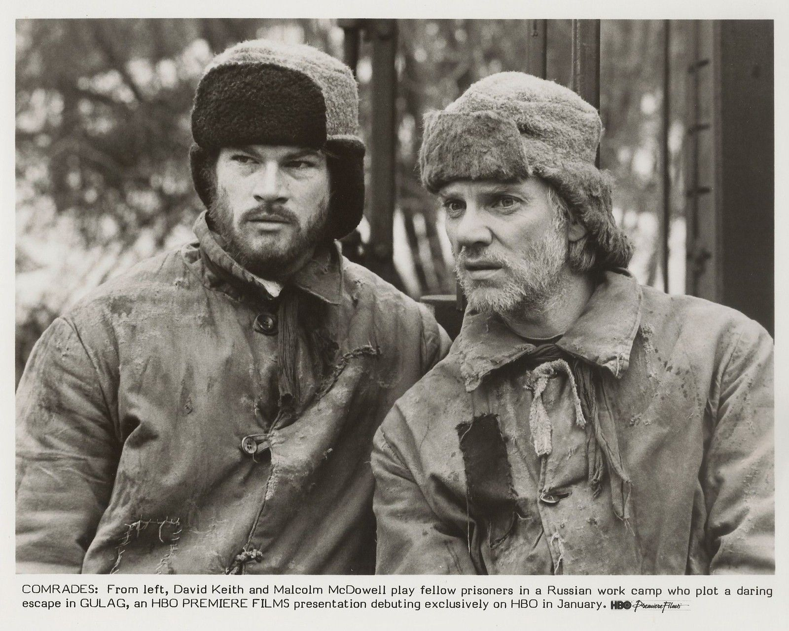 Malcolm McDowell and David Keith in Gulag (1985)